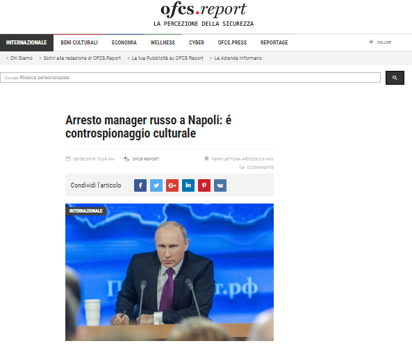 Arrestato manager russo su ofcs.report